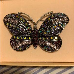 Vintage Kirks Folly rhinestone butterfly pin